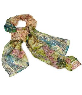 The details of the Sleeping Princess Silk Scarf including roses.