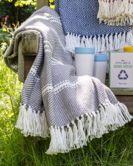 The collection of eco gifts: 3 recycled plastic bottle blankets, 4 rCUPs and 'The Little Book of Going Green.'
