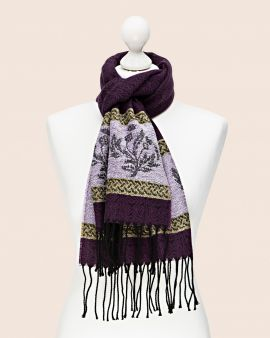 Celtic Scarf in Purple with Thistle Design