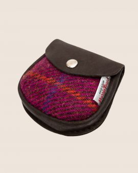 Harris Tweed and Deerskin Leather Purse in Bright Pink