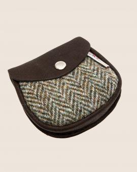 Harris Tweed and Deerskin Leather Purse in Grey Herringbone