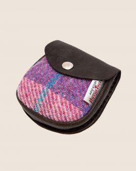 Harris Tweed and Deerskin Leather Purse in Pink Check