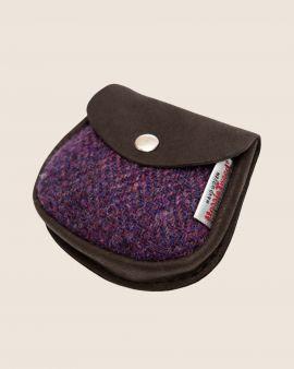 Harris Tweed and Deerskin Leather Purse in Purple Herringbone