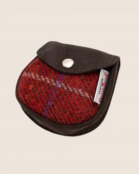 Harris Tweed and Deerskin Leather Purse in Red Check