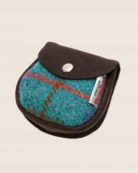 Harris Tweed and Deerskin Leather Purse in Pastel Check