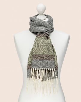 Celtic Scarf in Grey with Celtic Knot Design