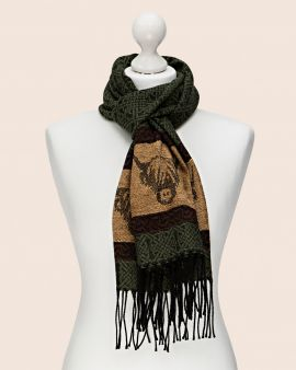 Celtic Scarf in Green with Highland Cow Design
