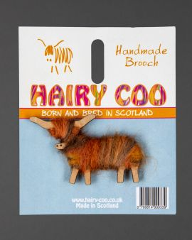 Hairy Coo Handmade Brooch with Brown Wool