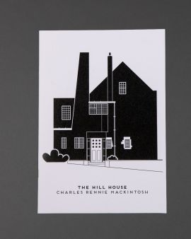 The cover of the notebook featuring the west elevation of the Hill House and the text 'The Hill House Charles Rennie Mackintosh.'