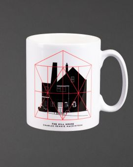 The mug featuring the Hill House West Elevation and Box and the text 'The Hill House Charles Rennie Mackintosh.'