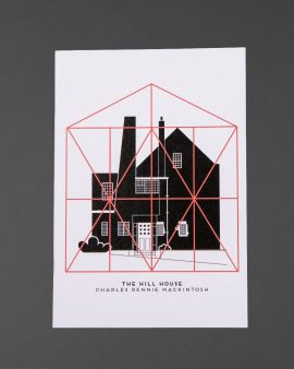 The cover of the notebook featuring the four elevations of the Hill House West Elevation and Box and the text 'The Hill House Charles Rennie Mackintosh.'