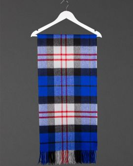 The MacFayden Tartan Classic Cashmere Stole folded and hanging on a coathanger.