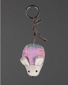 pastel tweed mouse keyring