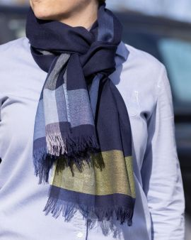 Lightweight Merino Scarf with Royal Mile Border by Johnstons of Elgin