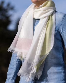 Lightweight Merino Scarf with Muted Gardens Border by Johnstons of Elgin