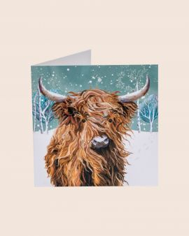 Pack of 10 Christmas Cards with Highland Cow Design