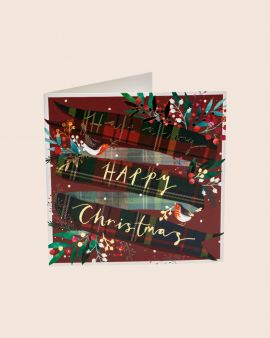 Pack of 10 Christmas Cards with Robins & Tartan Ribbon