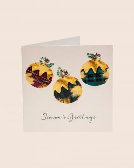 Pack of 10 Christmas Cards with Christmas Puddings Design