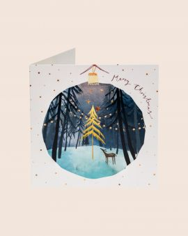 Pack of 10 Christmas Cards with Scenic Bauble Design