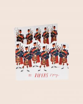 Pack of 8 Premium Christmas Cards with 11 Pipers Design