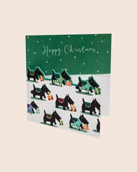 Pack of 8 Premium Christmas Cards with Scottie Dog Design
