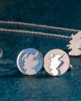 Round Silver Cufflinks with Scottish Coastline Design