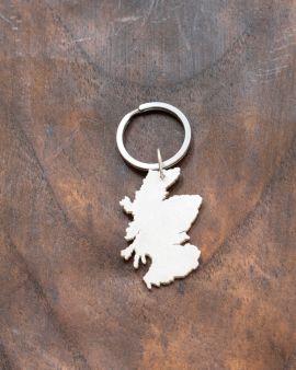 Silver Keyring in Scottish Coastline Design