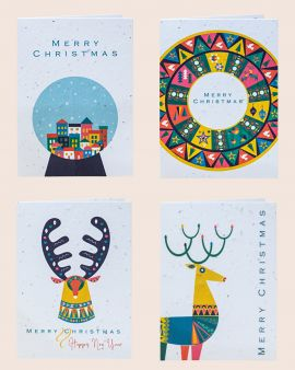 Pack of 4 Christmas Cards made from Seeded Paper with Scandi Designs