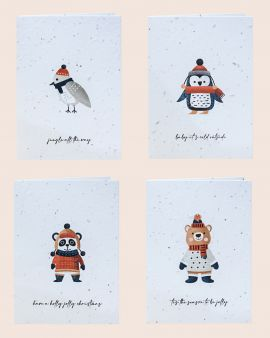 Pack of 4 Christmas Cards made from Seeded Paper with Animal Designs