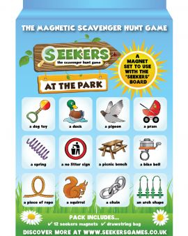 The packaging of the Magentic Scavenger Hunt game.