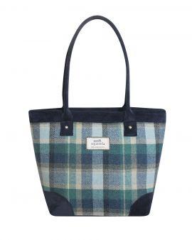 front of blue tweed tote bag