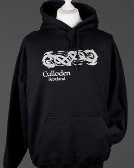 Black Celtic Dragon Culloden Hooded Sweatshirt Small