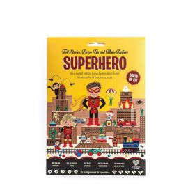 The packing for the Superhero Costume Kit: Tell Stories, Dress Up and Make Believe.