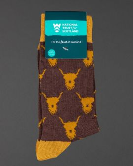 mens brown and tan socks with highland cow pattern