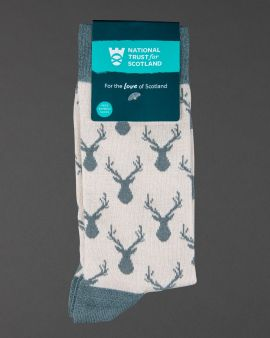 a pair of mens cream socks wtih muted green toe, heel and rib and muted green stag pattern