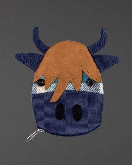 blue tweed highland cow purse