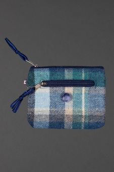 front of blue tweed purse, showing zips and button detail