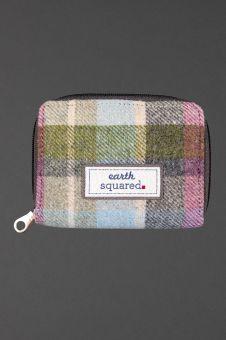 front of pastel tweed wallet showing label