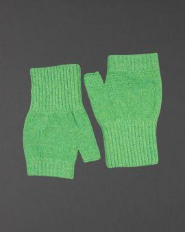 Green Lambswool Fingerless Gloves