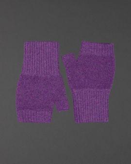 Purple Lambswool Fingerless Gloves