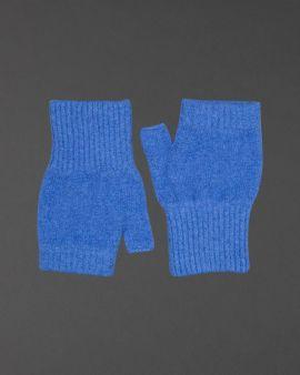 Blue Lambswool Fingerless Gloves