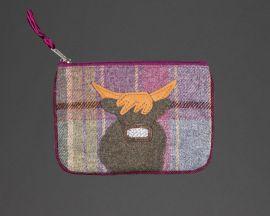 highland cow thistle tweed purse