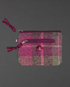 berry tweed coin purse