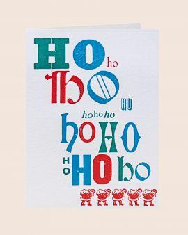 Pack of 5 Letterpress Christmas Cards with Ho Ho Ho Santa Design