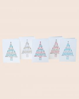Pack of 5 Letterpress Christmas Cards with Tree Design