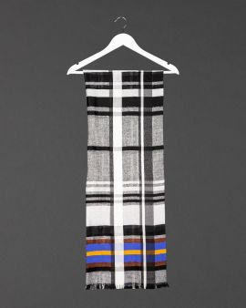 black and white check scarf, shown on a white coat hanger