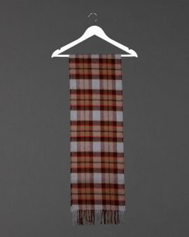 outlander fraser lambswool scarf hanging from a white coat hanger