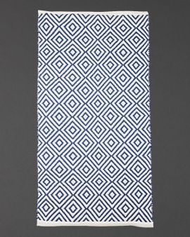 rug made from recycled plastic bottles in navy and white diamond pattern