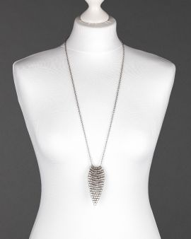 The stainless steel chain maille long leaf necklace