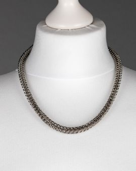 A chain maille link necklace made in the persian style
